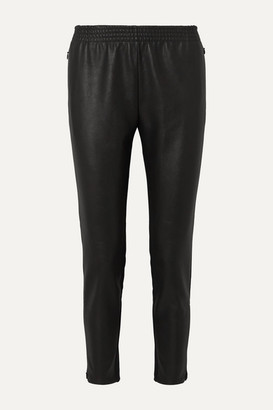 Wolford Stella Paneled Faux Stretch-leather And Jersey Straight-leg Pants - Black