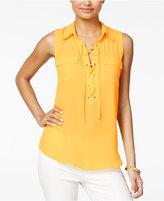Amy Byer Juniors' Lace-Up Camp Shirt