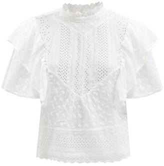 Etoile Isabel Marant Tizaina Ruffled Broderie-anglaise Cotton Blouse - White