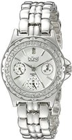 Burgi Women's BUR117SS Diamond & Crystal Accented Guilloche Dial Silver Bracelet Watch