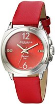 Akribos XXIV Women's AK742RD Swiss Quartz Movement Watch with Red Sunburst Effect Dial and Red Satin over Nubuck Leather Strap