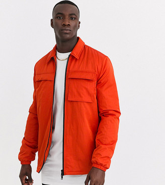 ASOS DESIGN Tall quilted jacket with utility details in orange
