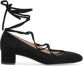 J.Crew Evelyn lace-up suede pumps