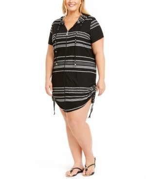 Thumbnail for your product : Dotti Plus Size Dahlia Stripe Zip Hoodie Cover-Up Women's Swimsuit