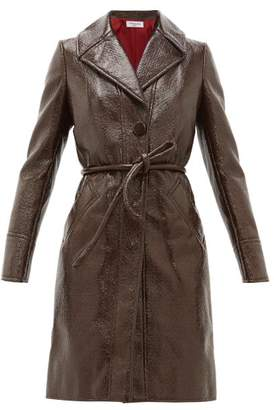 Françoise Francoise - Crackle-effect Faux-leather Trench Coat - Womens - Brown