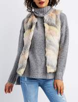 Charlotte Russe Chevron Faux Fur Vest