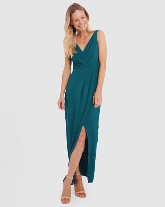 Forcast Naya V-Neck Tulip Midi Dress