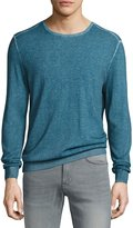 John Varvatos Engineered-Rib Crewneck Sweater, Blue