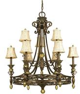 AF Lighting Baltic 9-Light Aged Antique Gold Chandelier with Ivory Shades