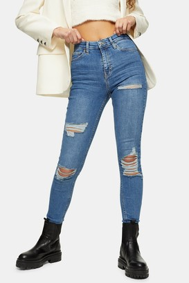 Topshop Womens Mid Blue Super Rip Jamie Skinny Jeans - Mid Stone