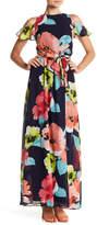 Vince Camuto Floral Chiffon Cold Shoulder Maxi Dress