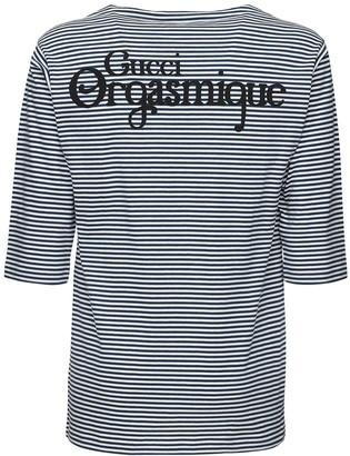 Gucci Orgasmique Striped Cotton T-Shirt