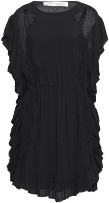 IRO Zestful Chantilly Lace-trimmed Ruffled Crepe Mini Dress