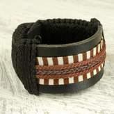 Hand Made Hausa Warrior Leather Wristband Bracelet for Men, 'Hausa Da'u'