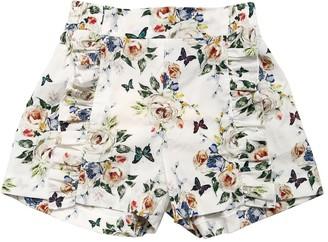 MonnaLisa Floral Printed Cotton Muslin Shorts