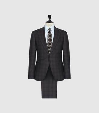 Reiss Strike - Wool Checked Slim Fit Suit in Charcoal