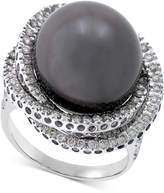 Macy's Cultured Tahitian Pearl (13mm) & Diamond (1 ct. t.w.) Ring in 14k White Gold