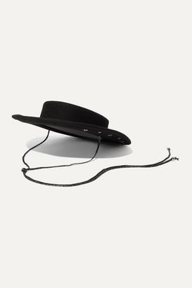 Gigi Burris Millinery Annie Silk-trimmed Embellished Wool-felt Hat - Black