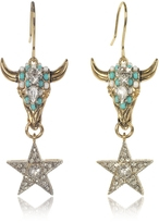 Roberto Cavalli Goldtone Brass Earrings w/Crystals and Mint Green Beads