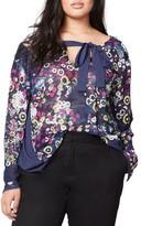 Rachel Roy Plus Size Women's Mix Print Blouse