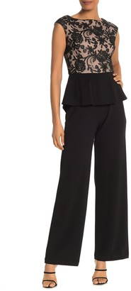 Onyx Nite Cap Sleeve Embroidered Lace Jumpsuit