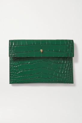 Alexander McQueen Envelope Croc-effect Leather Pouch
