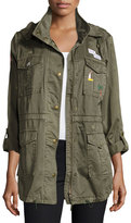 Joie Iban Patchwork Cotton Utility Jacket, Green