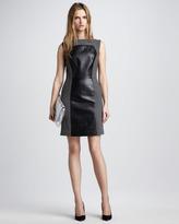 Nina Colorblock Leather Dress, Slate