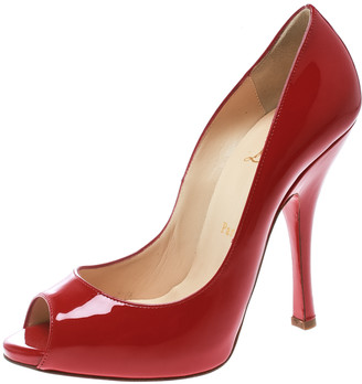 Christian Louboutin Red Patent Leather Maryl Peep Toe Pumps Size 38