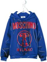 Moschino Kids double question mark logo hoodie