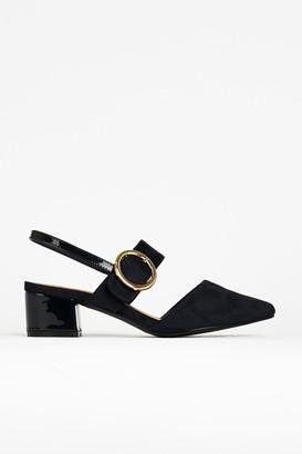 Wallis Navy Buckle Slingback Shoe