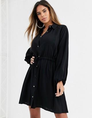 Asos Design DESIGN mini shirt dress with drawstring waist-Black