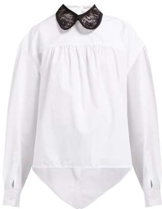 Christopher Kane Lace-collar Asymmetric Cotton-poplin Shirt - Womens - White