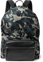 Alexander McQueen Leather-trimmed Camouflage-print Shell Backpack - Blue