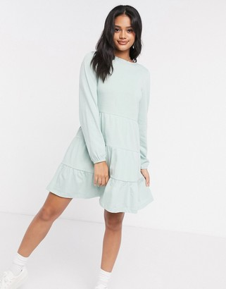 ASOS DESIGN smock mini dress with tiered hem with long sleeves in mint