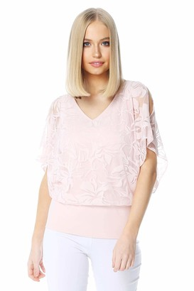 Roman Originals Women Floral Burnout Print Bubble Hem Top - Ladies Spring Summer T-Shirt Day to Night Evening Party Special Occasion Flower Pastel Printed Overlay Short Sleeve - Pink - Size 18