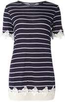 Dorothy Perkins **Tall Navy Stripe Chiffon Lace T-Shirt
