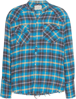 Greg Lauren Plaid Cotton Button-Up Shirt