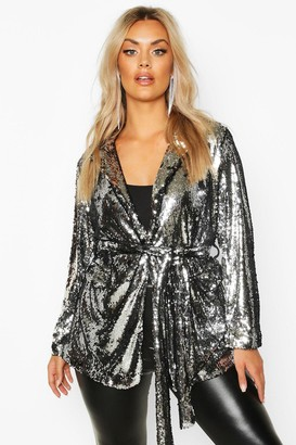 boohoo Plus Belted Wrap Sequin Jacket