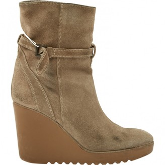 Chloé \N Green Suede Ankle boots