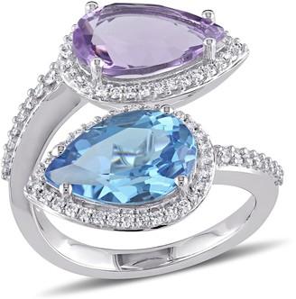 Bellini 6.65cttw Blue Topaz, Amethyst & 4/10 cttw Diamond Ring