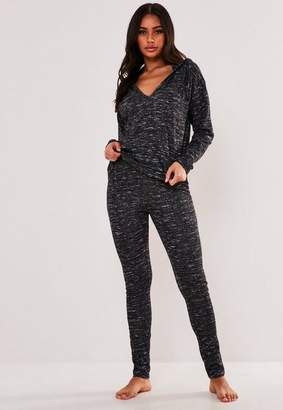 Missguided Gray Soft Knit Hooded Sweatshirt And Leggings Loungewear Set