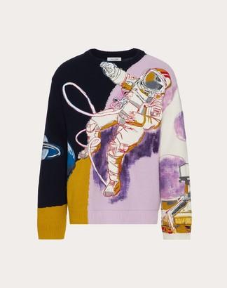 Valentino Spaceland Crew-neck Sweater Man Multicolored Virgin Wool 70%, Cashmere 30% L