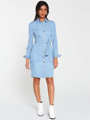Very Tie Waist Denim Dress - Light Wash