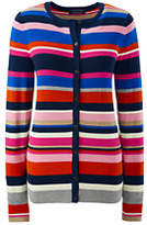 Lands' End Women's Supima Stripe Cardigan Sweater-Crimson Dawn
