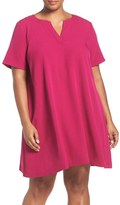 Adrianna Papell Short Sleeve Trapeze Dress (Plus Size)