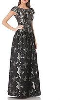 JS Collections Drop Waist Cap-sleeve Jacquard Ball Gown