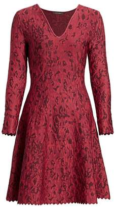 Zac Posen Leopard Jacquard Lurex Fit-&-Flare Dress