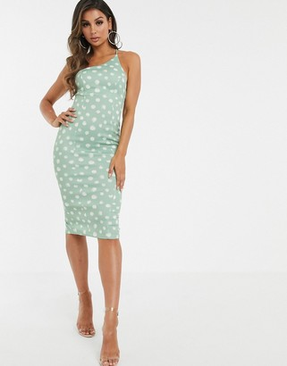 Asos Design DESIGN one shoulder spot strappy back bodycon midi dress-Green