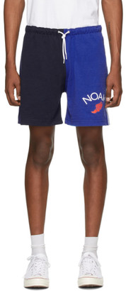 Noah NYC Blue Colorblocked Jersey Shorts